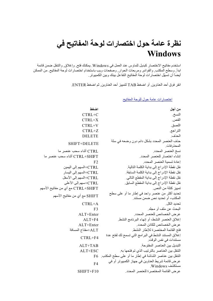 نظرة عامة حول اختصارات لوحة المفاتيح في                                              Windows   استخدم مفاتيح الختصا...