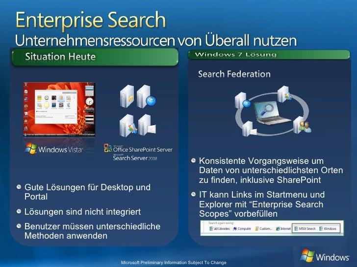 <ul><ul><li>Konsistente Vorgangsweise um Daten von unterschiedlichsten Orten zu finden, inklusive SharePoint </li></ul></u...