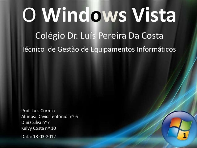 O Windows Vista      Colégio Dr. Luís Pereira Da CostaTécnico de Gestão de Equipamentos InformáticosProf. Luís CorreiaAlun...