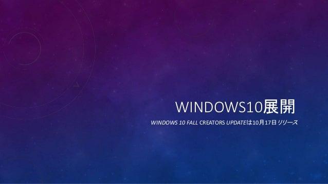 WINDOWS10展開 WINDOWS 10 FALL CREATORS UPDATEは10月17日リリース