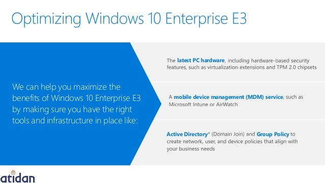 Windows 10 Enterprise E3 - Best in Class Security and Control - Prese…