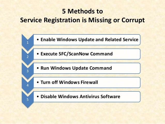 Windows 10 Service Registration Is Missing or Corrupt What to Do