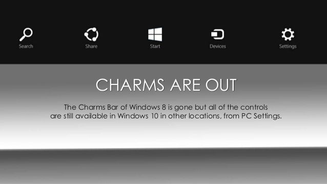 how to get charms bar on windows 10