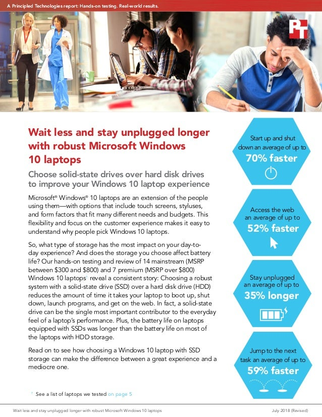 Wait less and stay unplugged longer with robust Microsoft Windows 10 laptops Choose solid-state drives over hard disk driv...