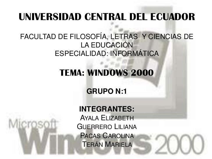 UNIVERSIDAD CENTRAL DEL ECUADORFACULTAD DE FILOSOFÍA, LETRAS Y CIENCIAS DE               LA EDUCACIÓN        ESPECIALIDAD:...