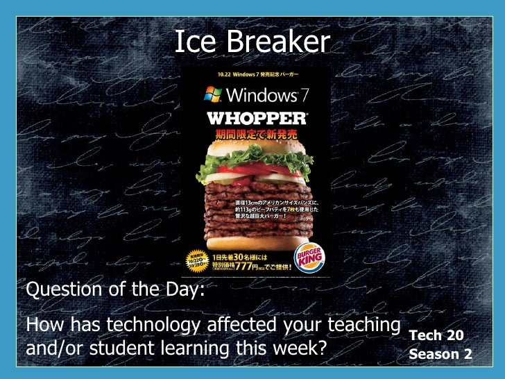 Ice Breaker Question of the Day: How has technology affected your teaching and/or student learning this week?