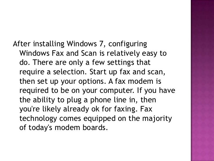 Faxing with Windows 7