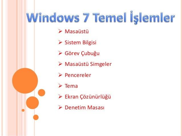  Masaüstü  Sistem Bilgisi  Görev Çubuğu  Masaüstü Simgeler  Pencereler  Tema  Ekran Çözünürlüğü  Denetim Masası