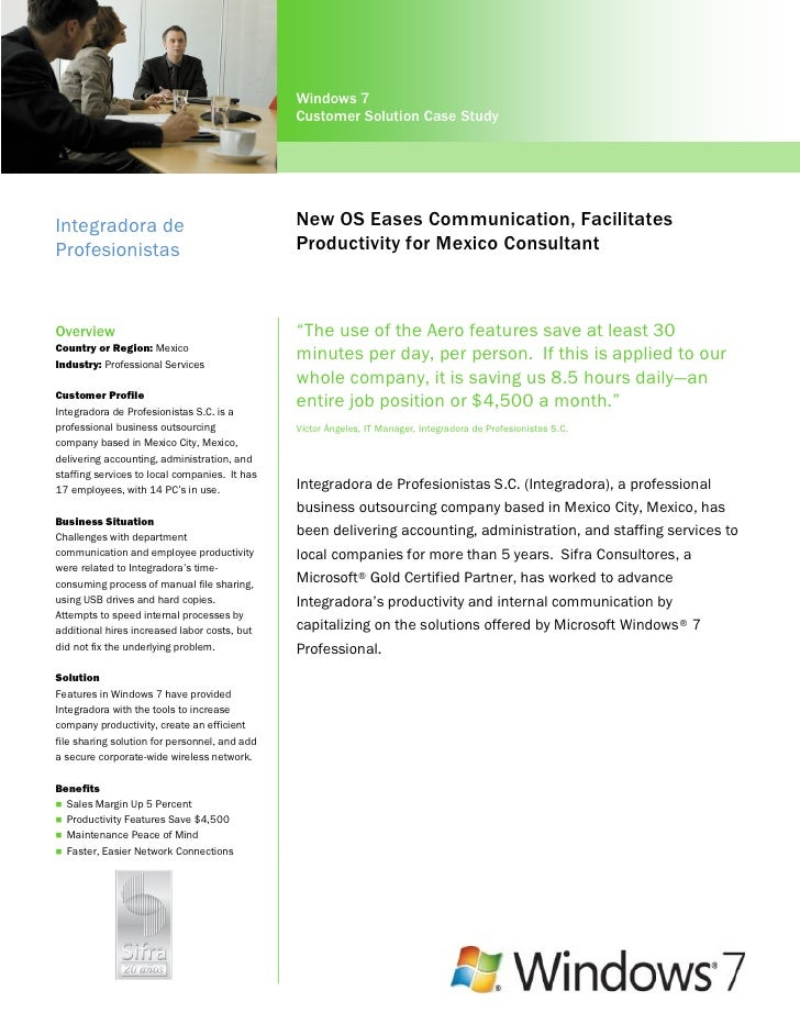 Windows 7                                               Customer Solution Case StudyIntegradora de                        ...