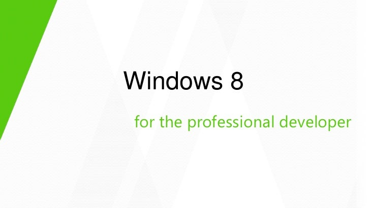 Windows 8for the professional developer