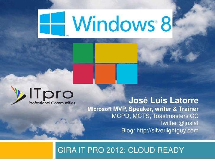 José Luis Latorre      Microsoft MVP, Speaker, writer & Trainer              MCPD, MCTS, Toastmasters CC                  ...