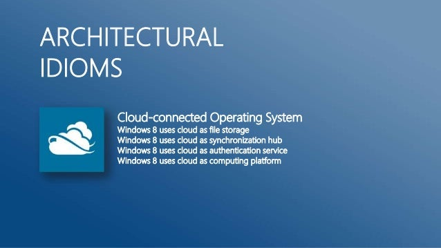ARCHITECTURALIDIOMS     Cloud-connected Operating System     Windows 8 uses cloud as file storage     Windows 8 uses cloud...