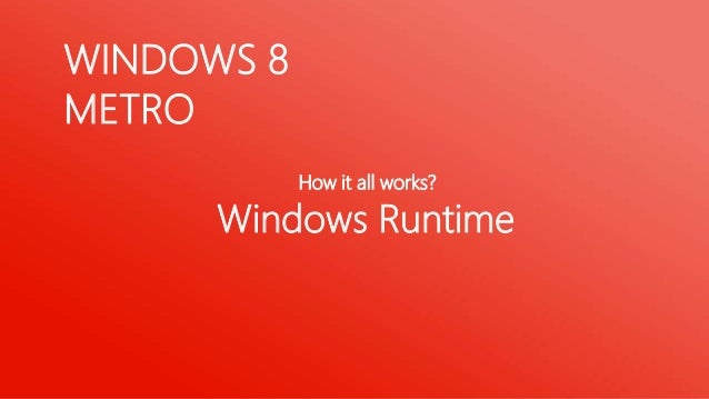 WINDOWSRUNTIMEThe Windows Runtime is the solid, efficient foundation for building                   great Metro style apps
