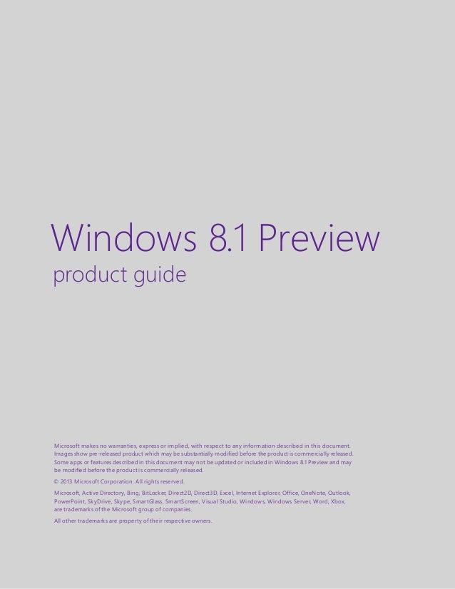 Microsoft Windows 8 1 Preview Product Guide