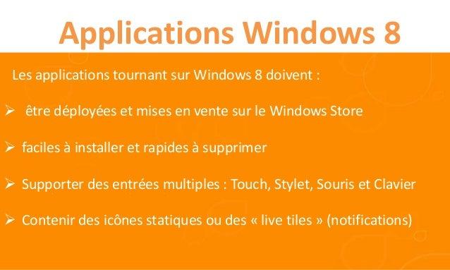 Applications Windows 8 Les applications tournant sur Windows 8 doivent : être déployées et mises en vente sur le Windows ...