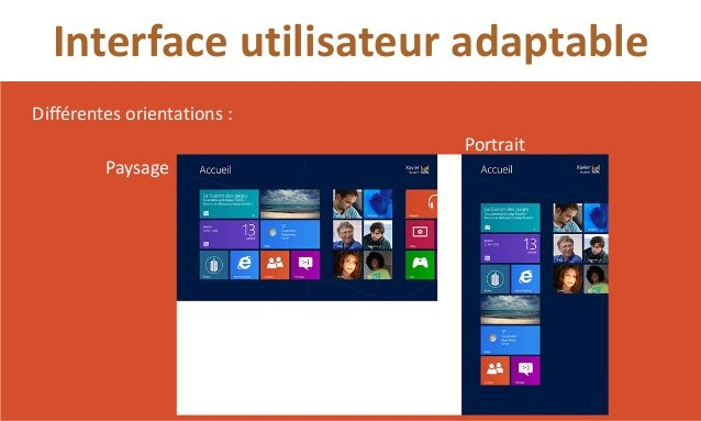 Interface utilisateur adaptableDifférentes orientations :                             Portrait         Paysage