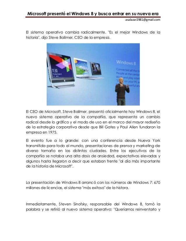 Microsoft presentó el Windows 8 y busca entrar en su nueva era                                                       asala...