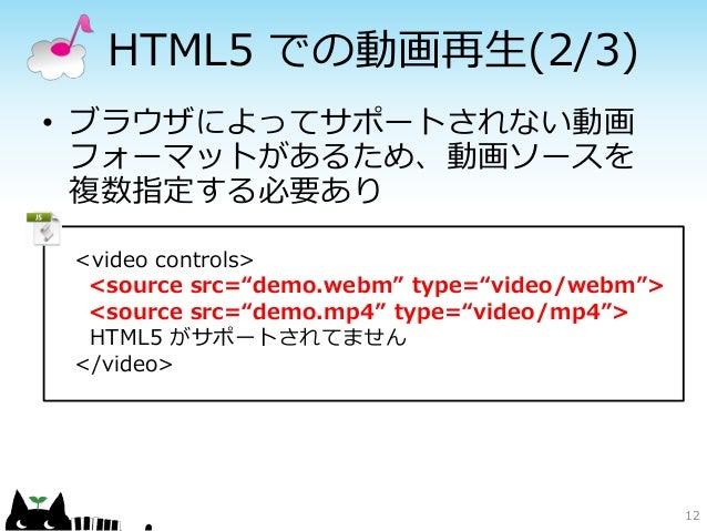 "HTML5 での動画再生(2/3)• ブラウザによってサポートされない動画  フォーマットがあるため、動画ソースを  複数指定する必要あり <video controls>  <source src=""demo.webm"" type=""vide..."