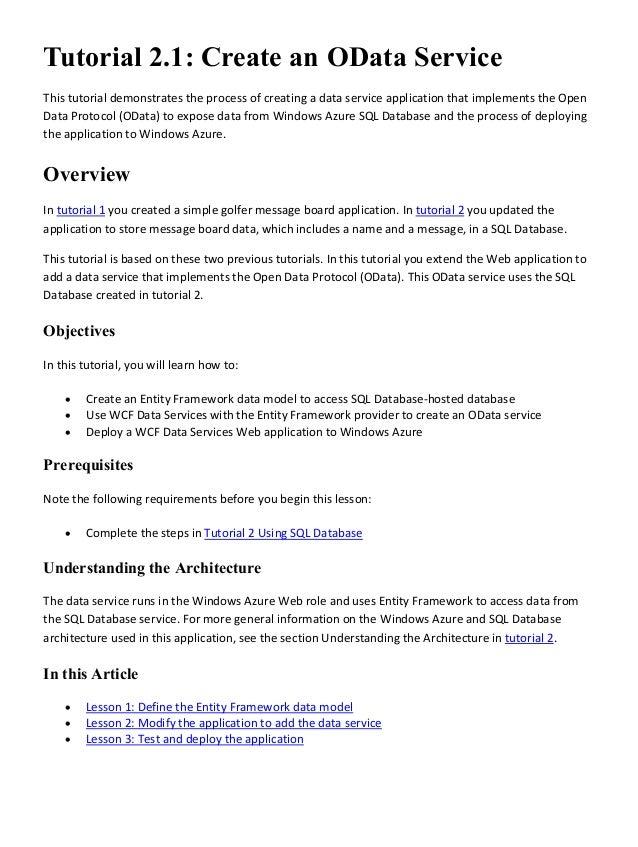 windows azure sql database tutorials