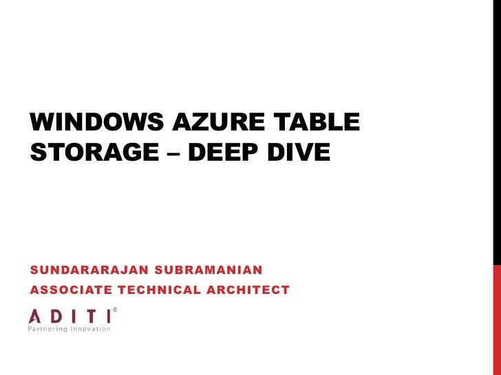 Windows Azure Table Storage – Deep Dive<br />Sundararajan Subramanian<br />Associate Technical Architect<br />