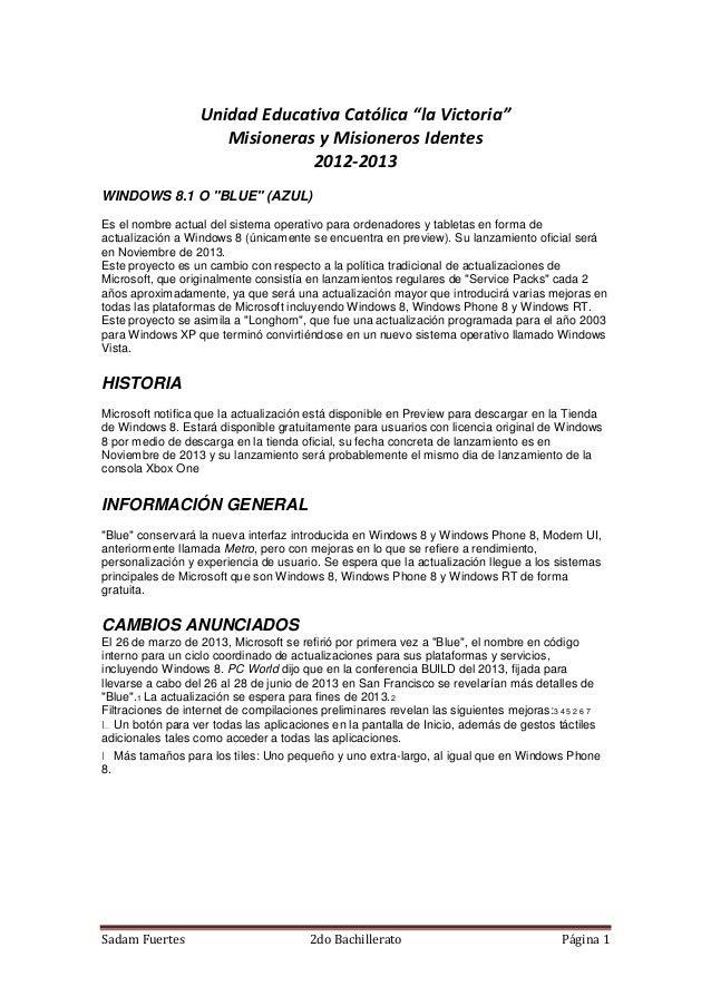 """Sadam Fuertes 2do Bachillerato Página 1 Unidad Educativa Católica """"la Victoria"""" Misioneras y Misioneros Identes 2012-2013 ..."""