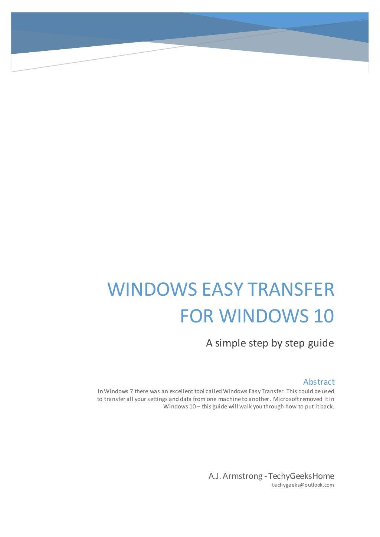 Windows Easy Transfer for Windows 10