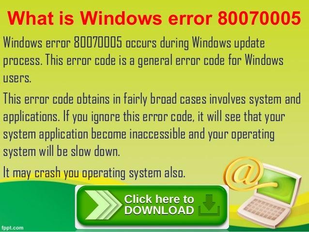 Windows error 80070005