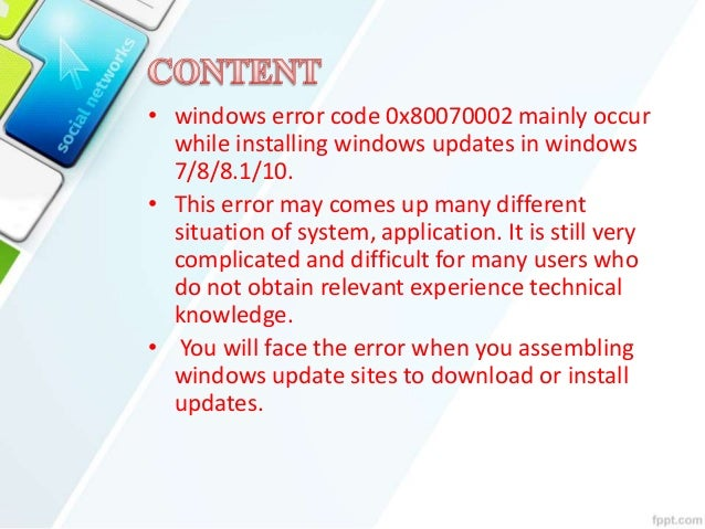 Windows error code 0x80070002