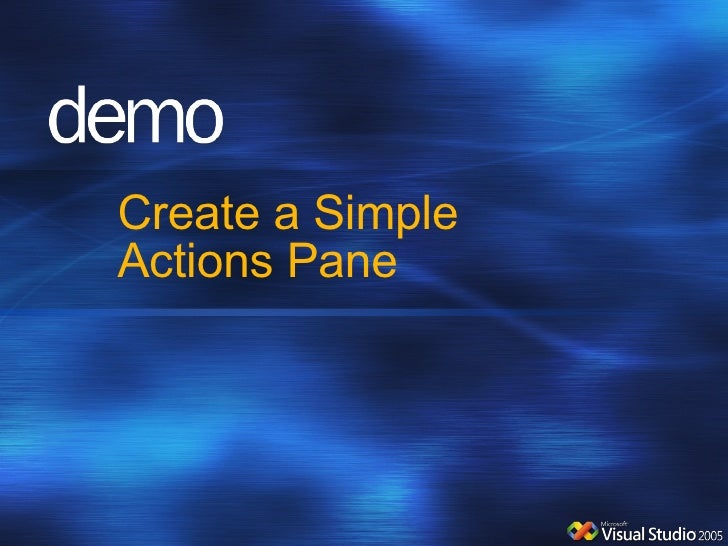 Create a Simple Actions Pane