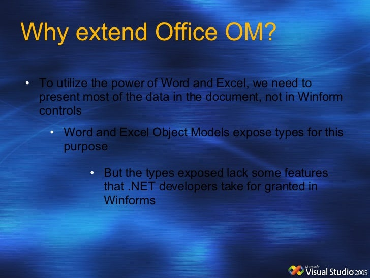 Why extend Office OM? <ul><li>But the types exposed lack some features that .NET developers take for granted in Winforms <...