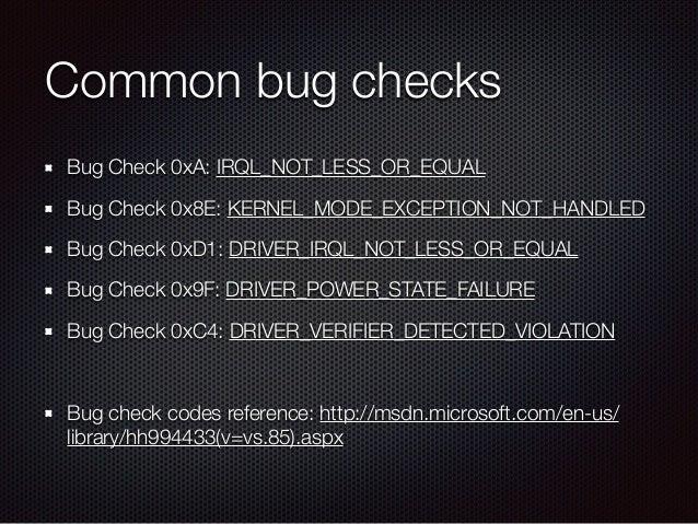 msdn bugcheck interrupt_exception_not_handled