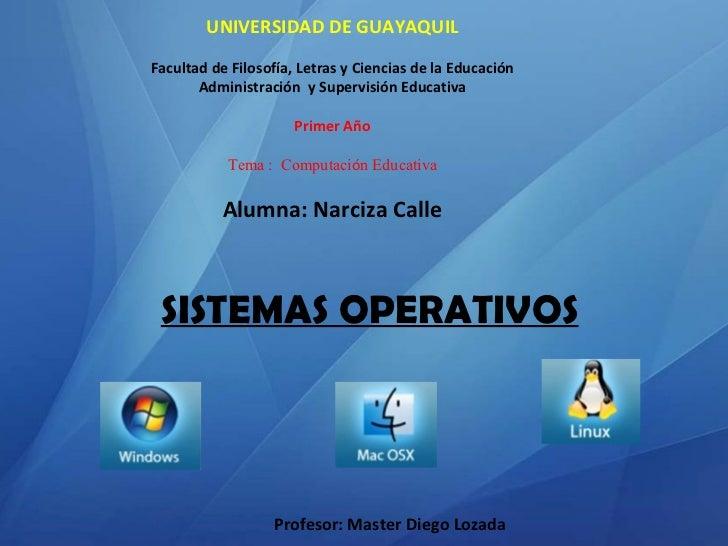 ecb8c9cbff5 Windows linux mac. SISTEMAS OPERATIVOS UNIVERSIDAD DE GUAYAQUIL Facultad de  Filosofía, Letras y Ciencias de la Educación Administración ...