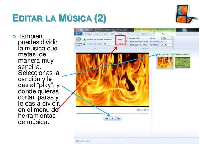 EDITAR LA MÚSICA (2)   También puedes dividir la música que metas, de manera muy sencilla. Seleccionas la canción y le da...