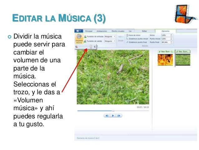 EDITAR LA MÚSICA (3)   Dividir la música puede servir para cambiar el volumen de una parte de la música. Seleccionas el t...