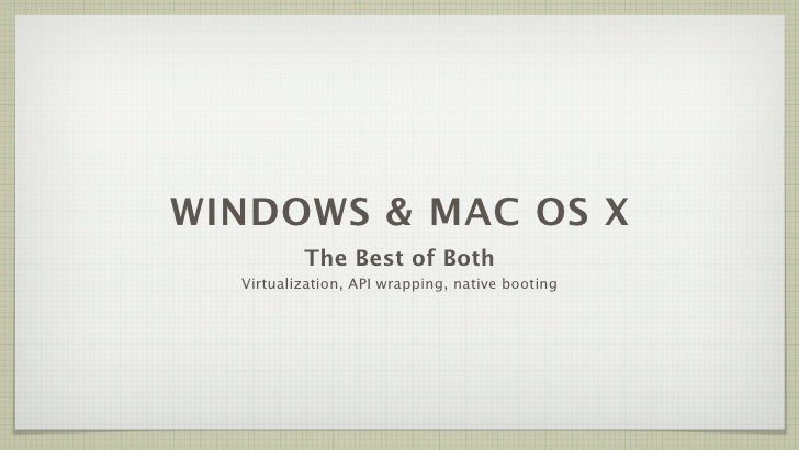 WINDOWS & MAC OS X           The Best of Both   Virtualization, API wrapping, native booting
