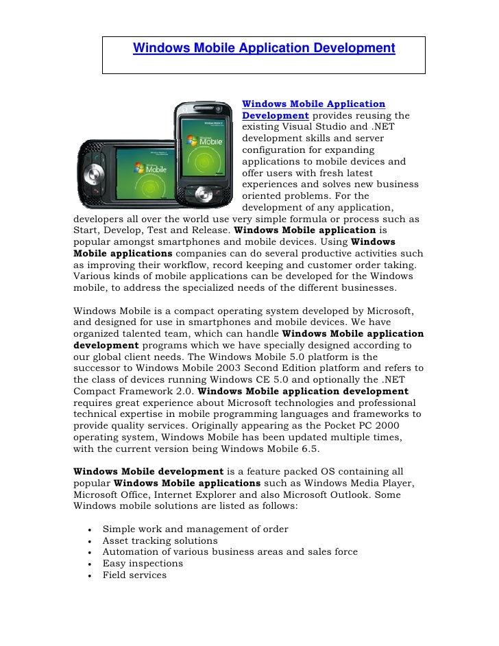 Windows Mobile Application Development - Windows Mobile  Application Developers - Windows Mobile Programming