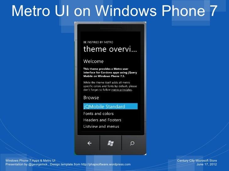 windows phone 7 apps with metro ui