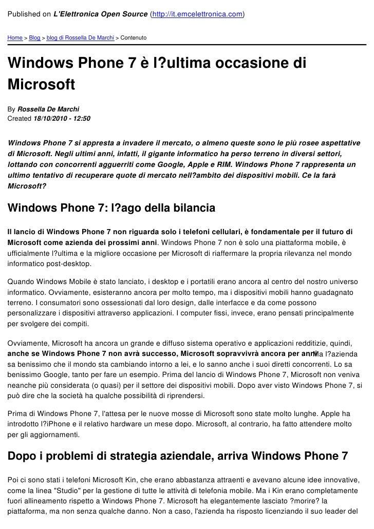 Published on LElettronica Open Source (http://it.emcelettronica.com)Home > Blog > blog di Rossella De Marchi > ContenutoWi...