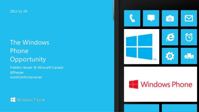 2012-11-29The WindowsPhoneOpportunityFrédéric Harper @ Microsoft Canada@fharperoutofcomfortzone.net