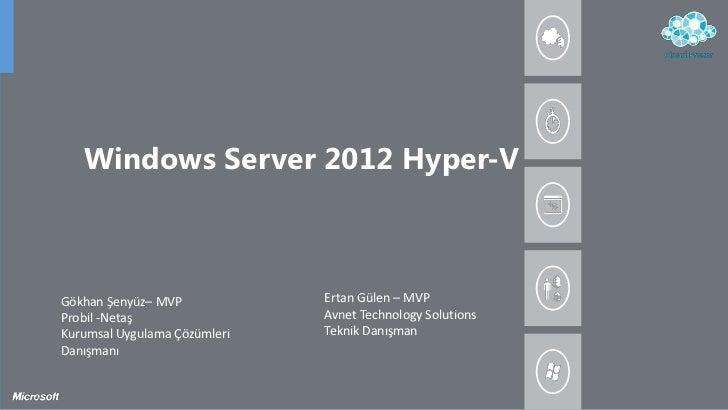 Windows Server 2012 Hyper-VGökhan Şenyüz– MVP            Ertan Gülen – MVPProbil -Netaş                 Avnet Technology S...