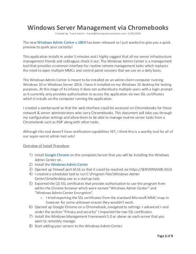 Windows Server Management via Chromebooks