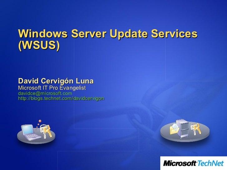 Windows Server Update Services(WSUS)David Cervigón LunaMicrosoft IT Pro Evangelistdavidce@microsoft.comhttp://blogs.techne...