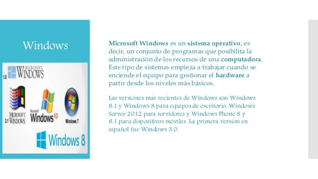 Windows Microsoft Windows es un sistema operativo, es decir, un conjunto de programas que posibilita la administración de ...