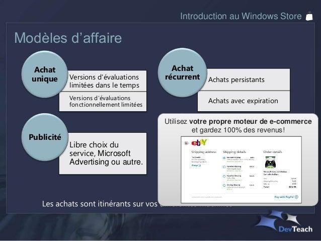Introduction au Windows StoreVersions d'essai limitées dans le tempsChoisir une période d'essai :Et laisser le store Windo...