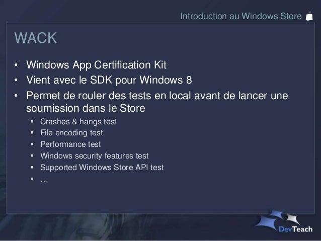 Introduction au Windows StoreCertification et déploiement