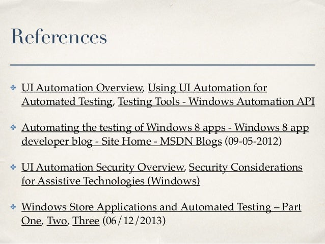 Windows automation testing