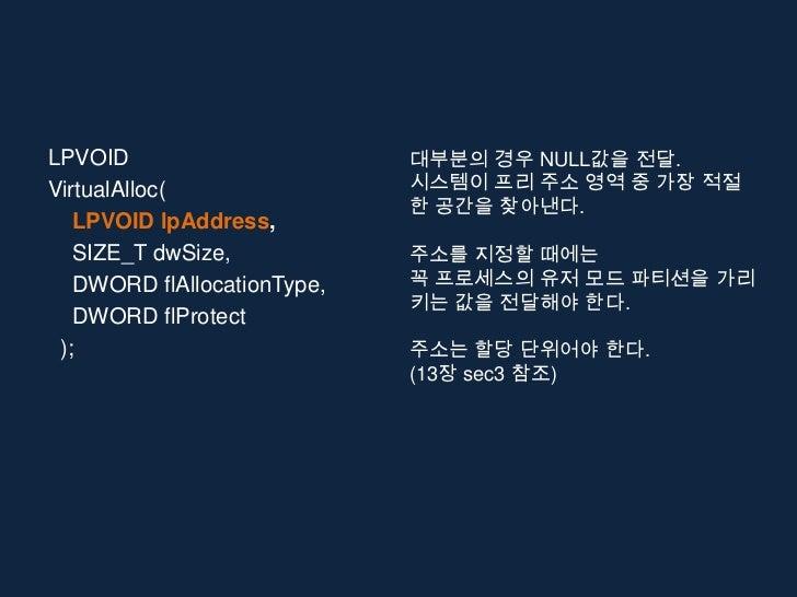 LPVOID                       대부분의 경우 NULL값을 전달.VirtualAlloc(                시스템이 프리 주소 영역 중 가장 적절                         ...