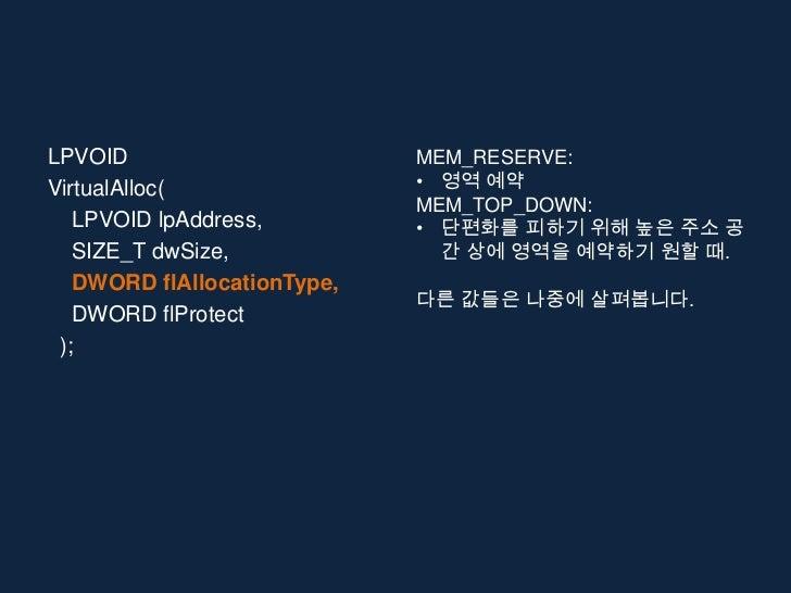 LPVOID                       MEM_RESERVE:VirtualAlloc(                • 영역 예약                             MEM_TOP_DOWN:   ...
