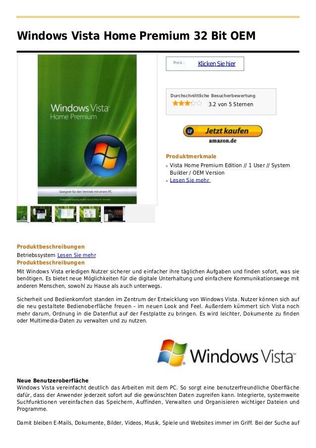 Windows Vista Home Premium 32 Bit OEM                                                               Preis :               ...