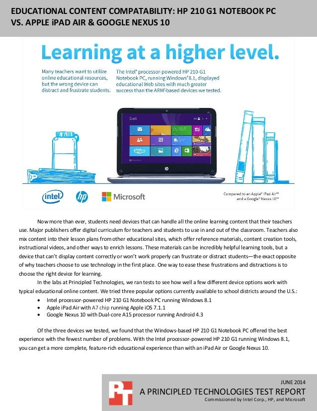 Educational content compatibility hp 210 g1 notebook pc vs apple ip june 2014 a principled technologies test report commissioned by intel corp hp fandeluxe Choice Image